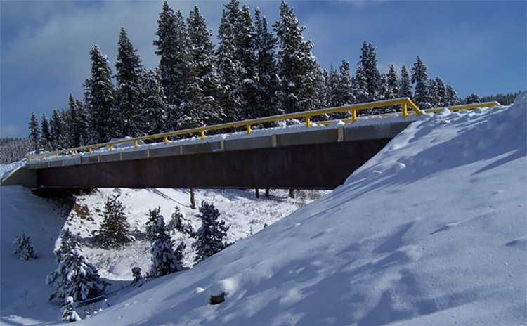Portable Bridge over snow covered ravine